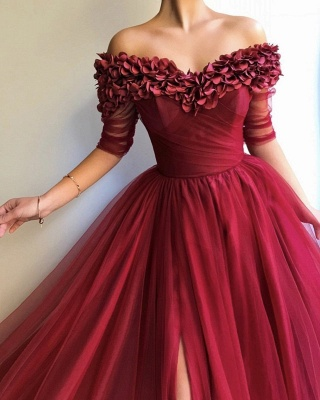 Burgundy fitted Fitted Off The Shoulder Tulle Flower Applique Exclusive Prom Dresses UK   New Styles_4