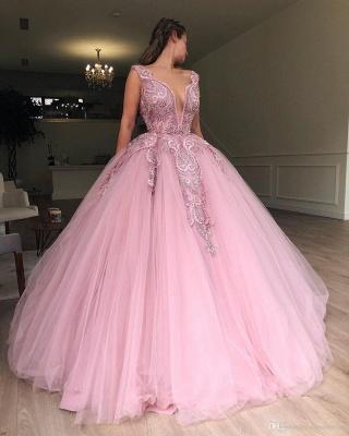 Beautiful Pink Puffy Deep V-Neck Sleeveless Applique Evening Dresses Online | New Styles_3