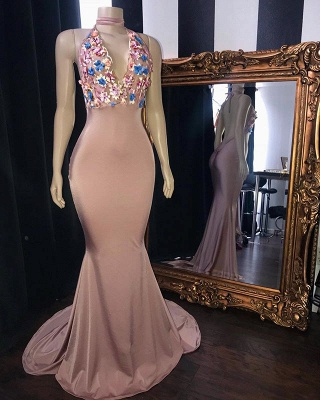 Pink Flowers Appliques Trumpet Long Prom Dresses | Amazing Summer Sleeveless Sexy Low Cut Evening Gowns | Suzhou UK Online Shop_2