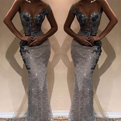 Beautiful Sheath One-Shoulder Silver Shining Sequins Exclusive Prom Dresses UK | New Styles_2