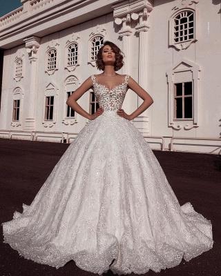 Elegant Puffy Spaghetti Straps Wedding Dresses Sleeveless With Lace Applique Online_2
