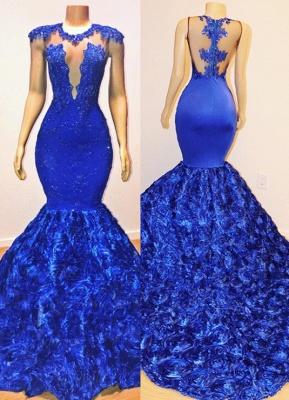 Sexy Royal Blue Flowers Trumpet Prom Dresses | Appliques Summer Sleeveless Sheer Evening Dress BC1059 | Suzhou UK Online Shop_1