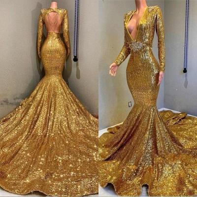Glamour Trumpet Sequins Long Sleeves Floor Length Prom Dresses | Suzhou UK Online Shop_5