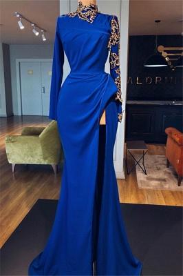 Royal Blue High Neck Side Slit Trumpet Prom Dresses | Elegant Long Sleeves Appliques Evening Gowns | Suzhou UK Online Shop_3