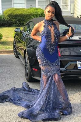 Flirty Mermaid Sleeveless High Neck Applique Exclusive Prom Dresses UK   New Styles_2
