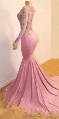 Pink Appliques Long Sleeves Prom Dresses | Glamour Trumpet Evening Gowns | Suzhou UK Online Shop_2