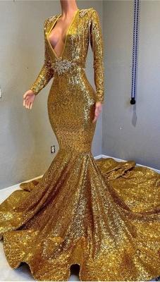Glamour Trumpet Sequins Long Sleeves Floor Length Prom Dresses | Suzhou UK Online Shop_3