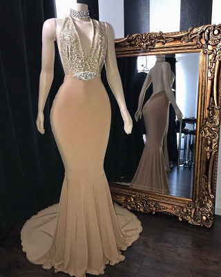 Champagne Crystal Halter Trumpet Long Prom Dresses | Sexy Low Cut Summer Sleeveless Evening Gowns | Suzhou UK Online Shop_2
