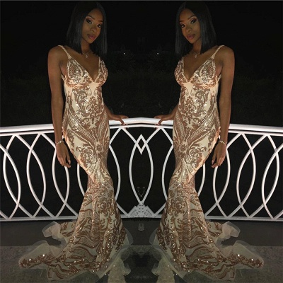 Flirty V-Neck Spaghetti Straps Sleeveless Shining Gold Appliques Mermaid Exclusive Prom Dresses UK | New Styles_2