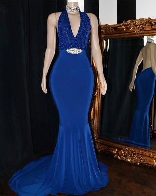 Sexy Halter Summer Sleeveless Trumpet Prom Dresses | Sexy Low Cut Appliques Crystal Evening Gowns | Suzhou UK Online Shop_2