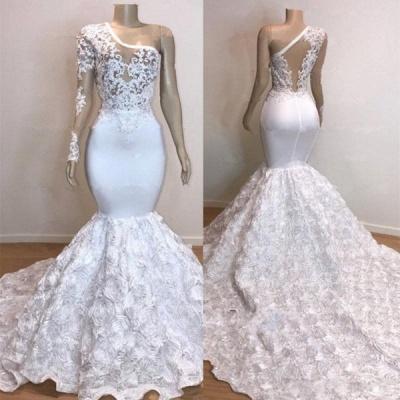 One Shoulder Lace Appliques Trumpet Prom Dresses with sleeve | Suzhou UK Online Shop_6