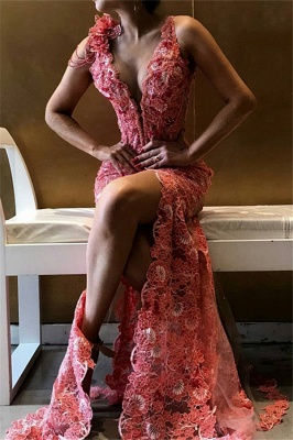 Gorgeous V-Neck Flower Side Slit Sleeveless Exclusive Prom Dresses UK | New Styles_1