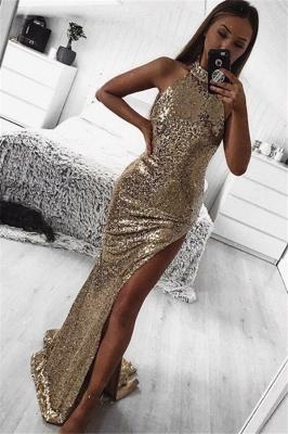 Shining Gold Sheath Halter Sleeveless Side Slit Shining Sequins Flirty Exclusive Prom Dresses UK | New Styles_1