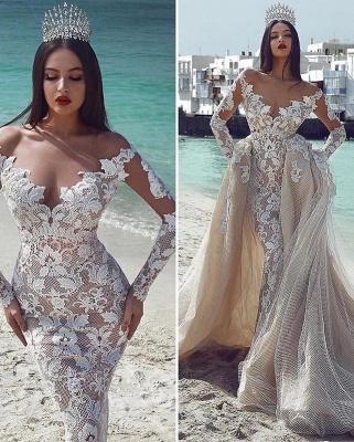 Elegant V-Neck Sleeved Tulle Applique Wedding Dresses with Overskirt | New Styles_2