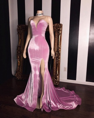 Pink Velvet Strapless Prom Dresses | Elegant Side Slit Trumpet Long Evening Gowns | Suzhou UK Online Shop_2