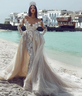Elegant V-Neck Sleeved Tulle Applique Wedding Dresses with Overskirt | New Styles_3