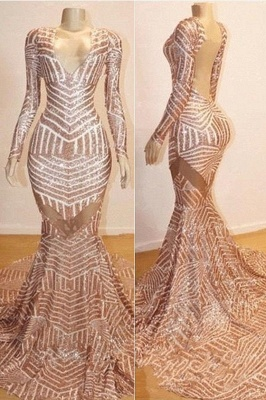 Trumpet Long Sleeves Sexy Low Cut Sequined Sweep Train Prom Dresses | Suzhou UK Online Shop_1