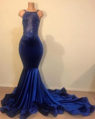Fabulous Mermaid Spahgetti-Straps Prom Dress Open Back Velvet Evening Gowns_3