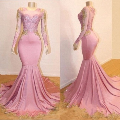 Pink Appliques Long Sleeves Prom Dresses | Glamour Trumpet Evening Gowns | Suzhou UK Online Shop_4