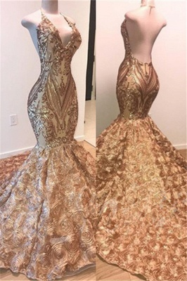Amazing Gold Sequins Summer Sleeveless Prom Dress | Shiny Trumpet Evening Gowns With Flowers Bottom | Suzhou UK Online Shop_2
