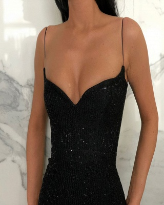 Unique Black Spaghetti Straps Prom Dress Open Back Sequins UK Formal Wears_2