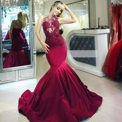 Burgundy fitted Gorgeous Sheer Straps Applique Mermaid Exclusive Prom Dresses UK   New Styles_2