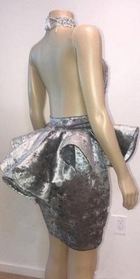 Halter Keyhole Neckline Appliqued Short Prom Dresses | Suzhou UK Online Shop_5