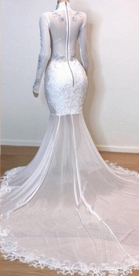 White Stunning Lace Long Sleeves Prom Dresses | Sheer Quality Tulle Slit Trumpet Evening Gowns | Suzhou UK Online Shop_3