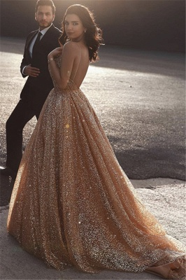 Champagne Elgant Fitted Spaghetti Straps Sexy Backless Open back Shining Sequins Exclusive Prom Dresses UK | New Styles_2