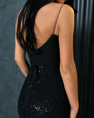 Unique Black Spaghetti Straps Prom Dress Open Back Sequins UK Formal Wears_4