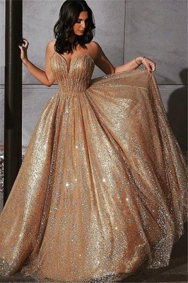 Champagne Elgant Fitted Spaghetti Straps Sexy Backless Open back Shining Sequins Exclusive Prom Dresses UK | New Styles_1