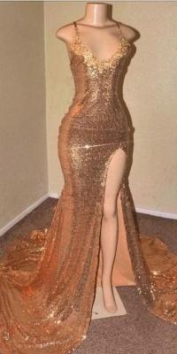 Sequins Summer Sleeveless Front Slit Floor Length Trumpet Dresses   Suzhou UK Online Shop_4