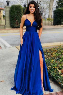 Elegant Fitted Spaghetti Straps Sleeveless Side Slit Evening Dresses Online | New Styles_1