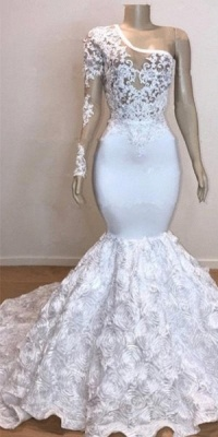 One Shoulder Lace Appliques Trumpet Prom Dresses with sleeve | Suzhou UK Online Shop_2