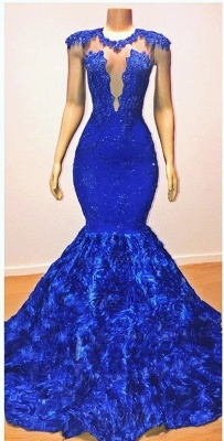 Royal-Blue Flowers Trumpet Long Evening Gowns | Amazing Summer Sleeveless With lace Appliques Prom Dresses | Suzhou UK Online Shop_2