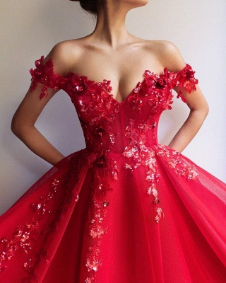 Beautiful Puffy Off The Shoulder Applique Flowers Evening Dresses Online | New Styles_3