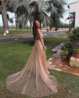 Amazing Sequins Princess A-line Long Prom Gowns | Spaghetti Straps Sexy Low Cut Evening Dress | Suzhou UK Online Shop_4