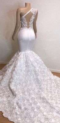 One Shoulder Lace Appliques Trumpet Prom Dresses with sleeve | Suzhou UK Online Shop_5
