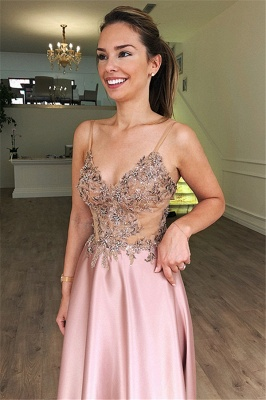 Gorgeous Fitted Spaghetti Straps Sleeveless Beaded Pink Exclusive Prom Dresses UK | New Styles_2