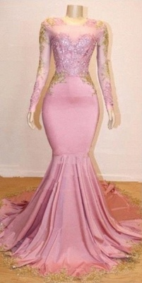 Pink Appliques Long Sleeves Prom Dresses | Glamour Trumpet Evening Gowns | Suzhou UK Online Shop_1