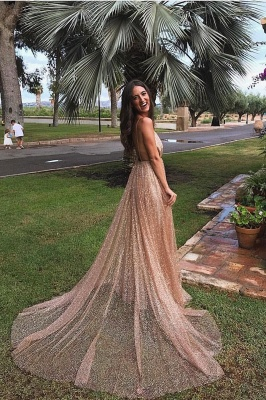 Amazing Sequins Princess A-line Long Prom Gowns | Spaghetti Straps Sexy Low Cut Evening Dress | Suzhou UK Online Shop_1