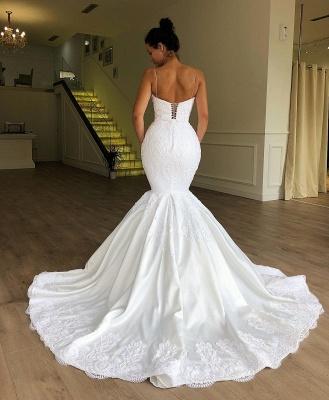 Gorgeous Mermaid Spaghetti Straps Long Wedding Dress Sleeveless Lace | Bridal Gowns Online_2