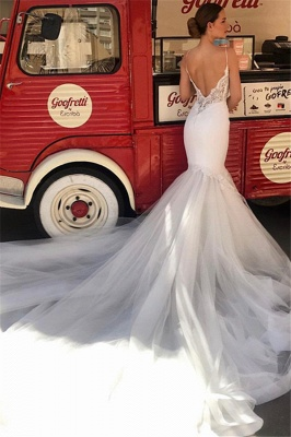 Glamorous Appliques Sleeveless Lace Tulle Wedding Dresses Spaghetti-Straps Mermaid Bridal Gowns On Sale_2
