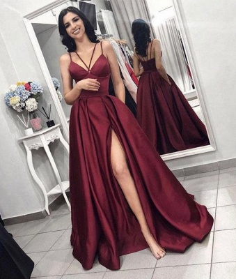 Sexy Summer Sleeveless Front Split Prom Gown | Wine Red Spaghetti-Straps Princess A-line Evening Dress | Suzhou UK Online Shop_2