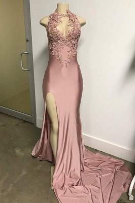 Lovely Pink SleevelessMermaid Prom Dresses Long With Front Slit_1