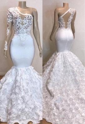 One Shoulder Lace Appliques Trumpet Prom Dresses with sleeve | Suzhou UK Online Shop_1