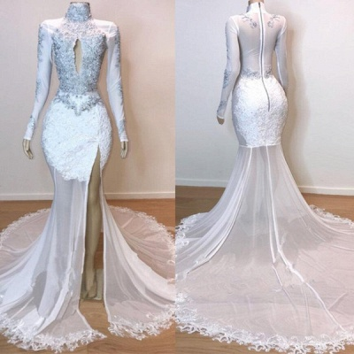 White Stunning Lace Long Sleeves Prom Dresses | Sheer Quality Tulle Slit Trumpet Evening Gowns | Suzhou UK Online Shop_4