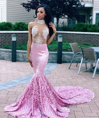 Flirty Pink Mermaid High Neck Sleeveless Sheer Tulle Applique Exclusive Prom Dresses UK | New Styles_2