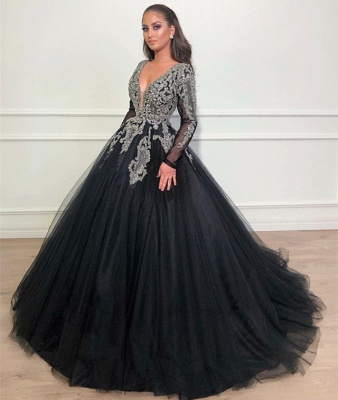 Unique Black Puffy Deep V-Neck Sleeved Appliques Overskirt Evening Dresses Online | New Styles_3