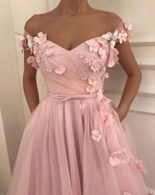 Pink Flowers Princess A-line Quality Tulle Long Cheap Prom Dress | Elegant Off-the-Shoulder Evening Gowns | Suzhou UK Online Shop_2